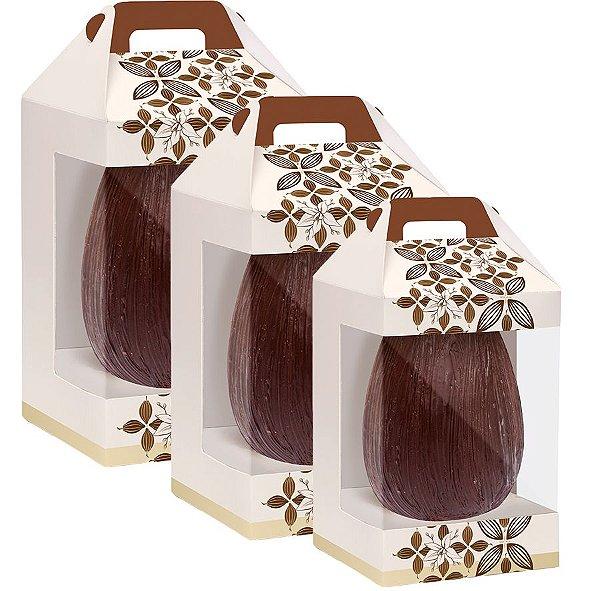 Caixa Maleta Vertical New com Visor Flor de Cacau Marfim - 06 unidades - Cromus Páscoa - Rizzo Embalagens