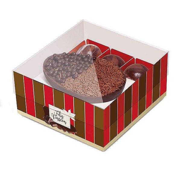 Caixa New Practice Meio Ovo com Bombons Chocolate Listras Vermelho 100g 18,5x17,5x8cm - 06 unidades - Cromus Páscoa - Rizzo Embalagens