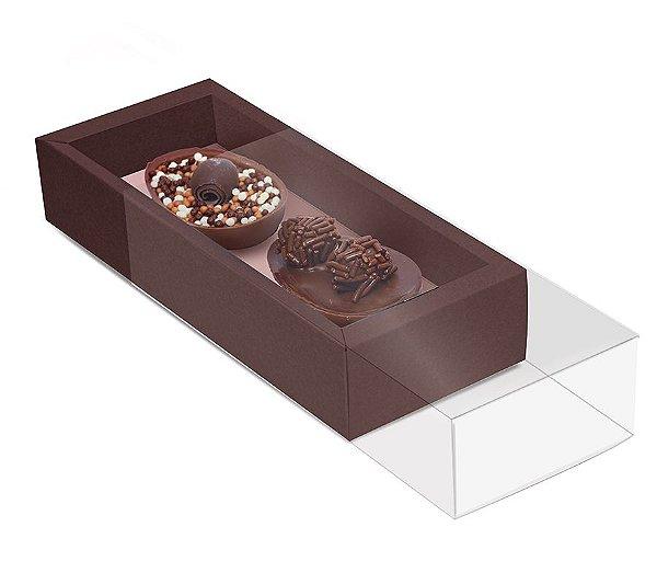 Caixa para Dois Meio Ovo 50g 18,5x7,5x3,5cm Specialla Rosê Gold e Marrom - 06 unidades - Cromus Páscoa - Rizzo Embalagens