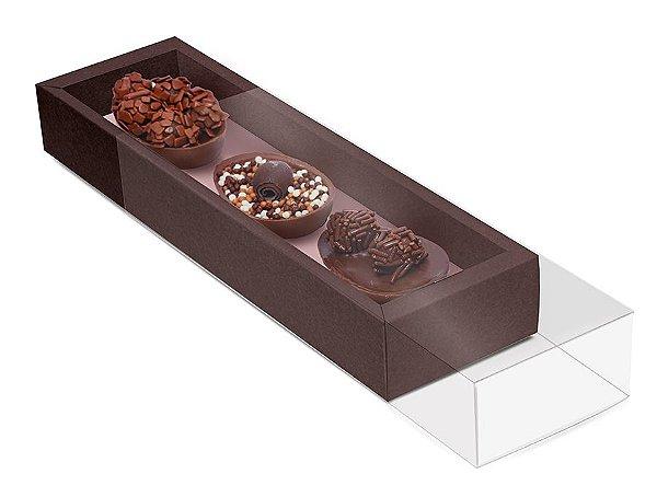 Caixa para Três Ovos 50g 26,5x7,5x3,5cm Specialla Rosê Gold e Marrom - 06 unidades - Cromus Páscoa - Rizzo Embalagens