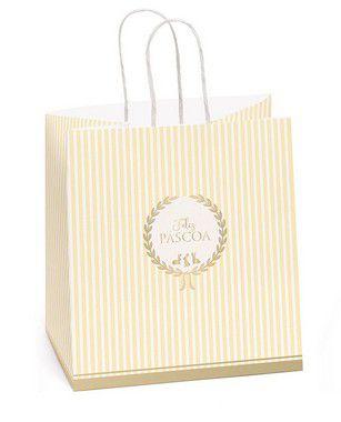 Sacola de Papel para Meio Ovo 350g com Alça Royalle Amarelo - 30x22x17,5cm - Cromus Páscoa - Rizzo Embalagens