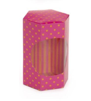 Caixa Sextavada para Ovos de 250g a 350g 11x15x9cm Poá com Visor Pink - 10 unidades - Cromus Páscoa - Rizzo Embalagens