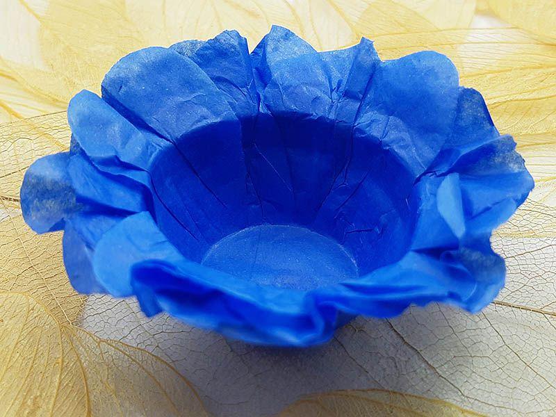 Forminha para Doces Floral em Seda Azul Celeste - 40 unidades - Decorart - Rizzo Embalagens e Festas