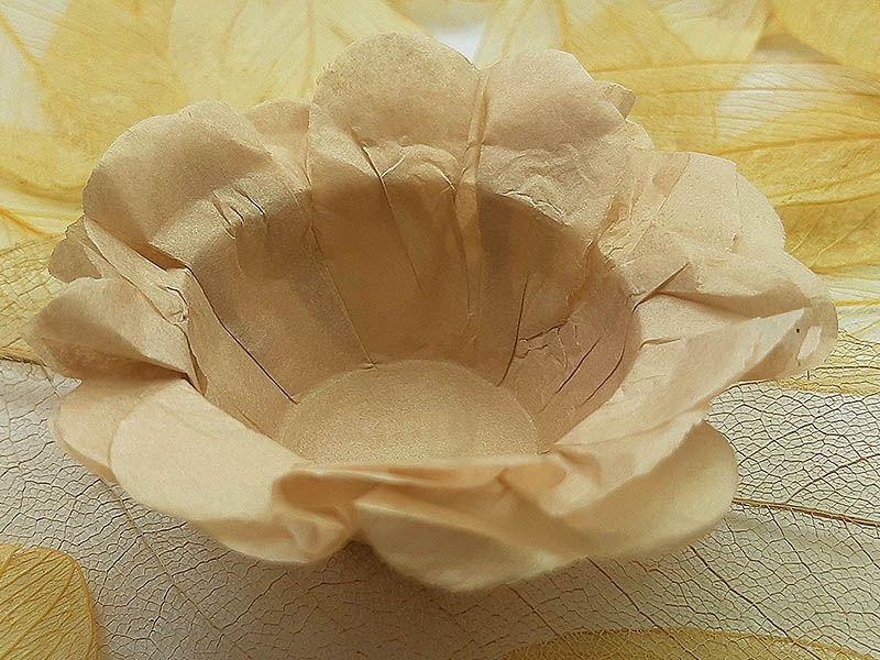 Forminha para Doces Floral em Seda Champanhe - 40 unidades - Decorart