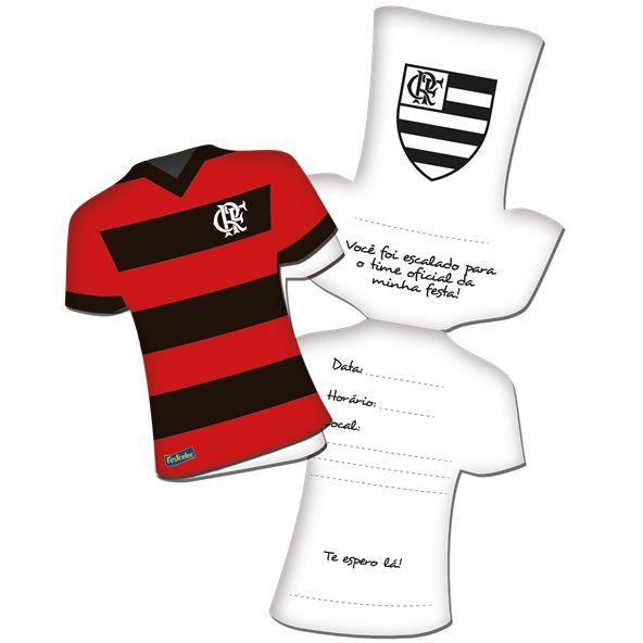 Convite Festa Flamengo - 11,5cm x 8cm - 08 unidades - Festcolor - Rizzo Festas