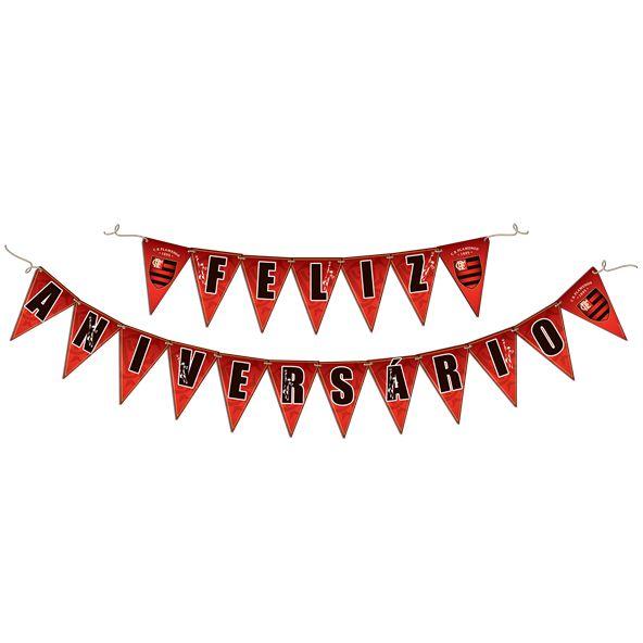 Faixa Feliz Aniversário - Festa Flamengo - 01 Unidade - Festcolor - Rizzo Festas