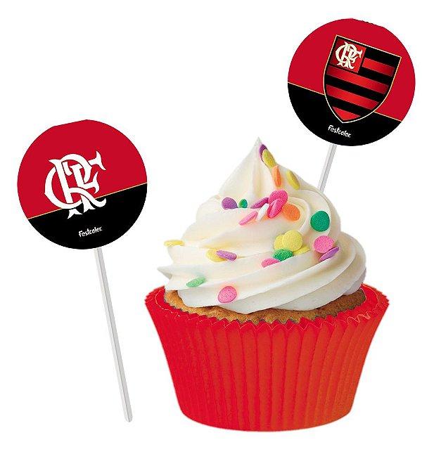 Topper Festa Flamengo - 08 unidades - Festcolor - Rizzo Festas