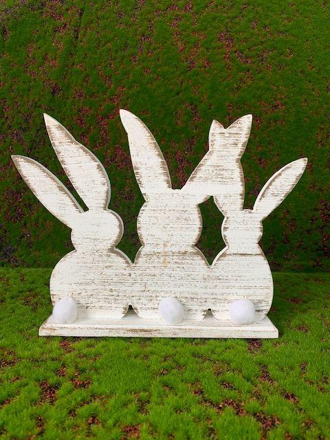 Trio de Coelhos de MDF Rústico Branco com Pompom 10398 - 01 unidade - Páscoa - Rizzo Embalagens