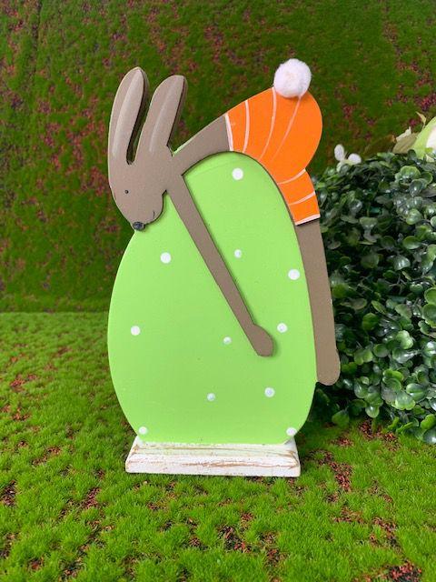Coelho de MDF Rústico em Ovo Verde - 01 unidade - Páscoa - Rizzo Embalagens