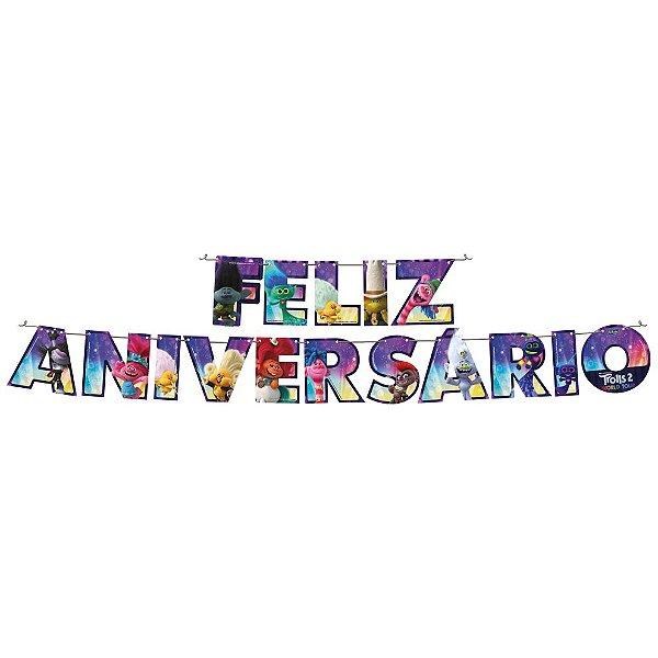 Faixa Feliz Aniversário - Festa Trolls 2 - 01 Unidade - Festcolor - Rizzo Festas
