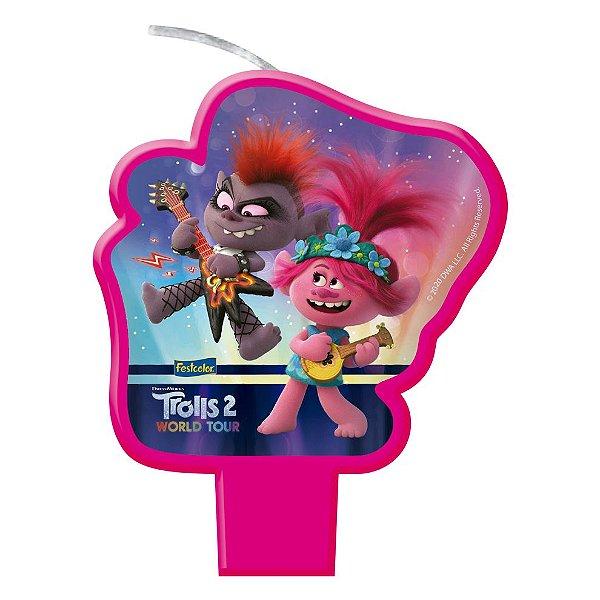 Vela Festa Trolls 2 - 1 unidade - Festcolor - Rizzo Embalagens e Festas