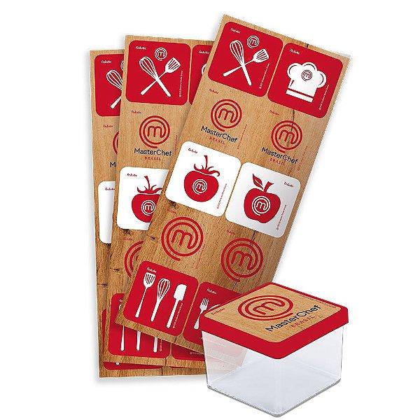 Adesivo Quadrado Decorativo Festa Festa Master Chef - 30 unidades - Festcolor - Rizzo Festas