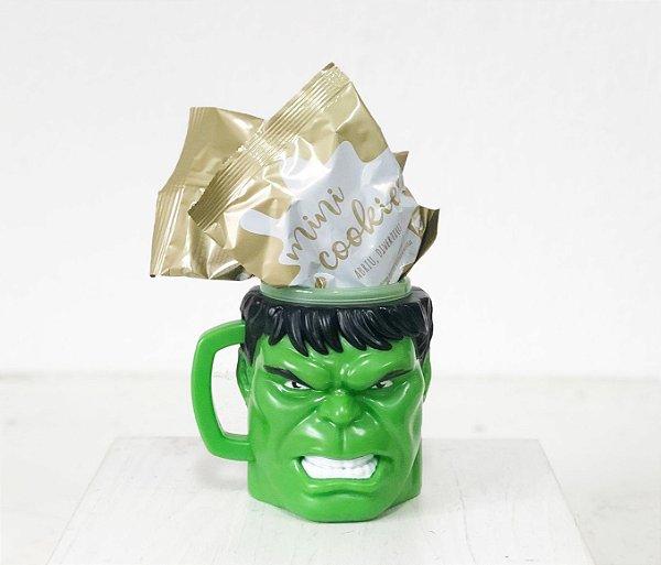 Kit Caneca 3D com Cookies - Hulk - 01 unidade - Cromus - Rizzo Embalagens