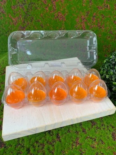 Caixa com 10 Mini Ovos de Plástico Laranja e Transparente - Rizzo Embalagens