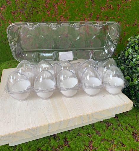 Caixa com 10 Mini Ovos de Plástico Branco e Transparente - Rizzo Embalagens