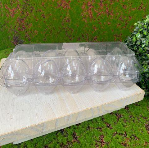 Caixa com 10 Mini Ovos de Plástico Transparente - Rizzo Embalagens
