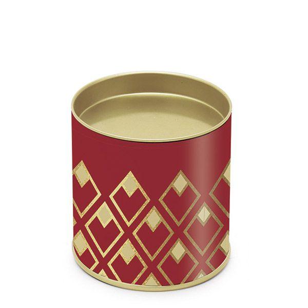 Lata para Bombons Vermelho Detalhes Ouro P - 8,5x7,5cm - 01 unidade - Cromus - Rizzo Embalagens