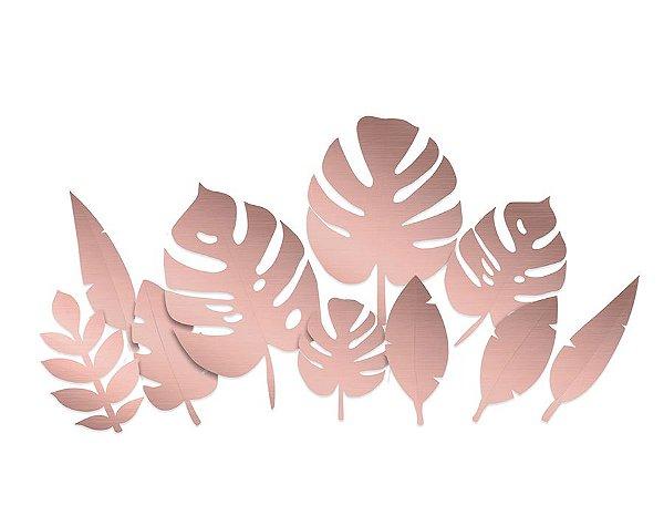 Folhagens Metalizadas Sortidas Rose Gold - Festa OH Baby Girl - 10 unidades - Cromus - Rizzo Festas