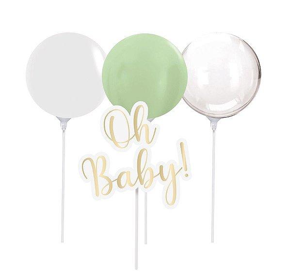 Kit Topo de Bolo com Balão - Festa OH Baby Boy - 01 unidade - Cromus - Rizzo Festas
