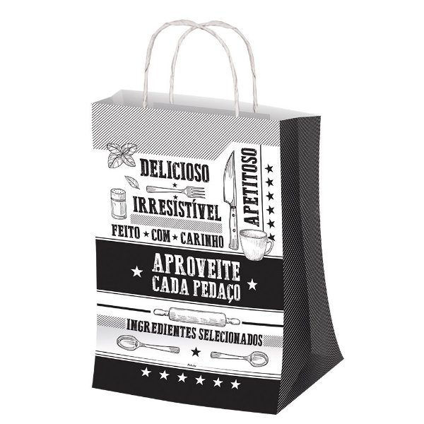 Sacola M 29,5x23,5cm Preto e Branco - 50 unidades - Food Service Fest Color - Rizzo Embalagens