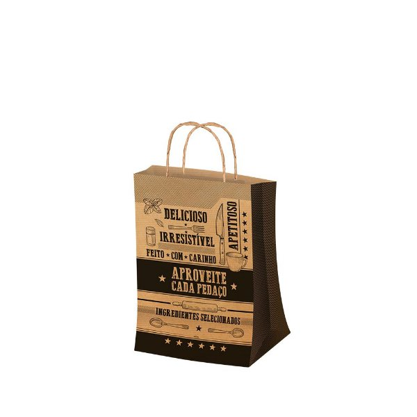 Sacola P 27,5x17,5cm Kraft - 50 unidades - Food Service Fest Color - Rizzo Embalagens