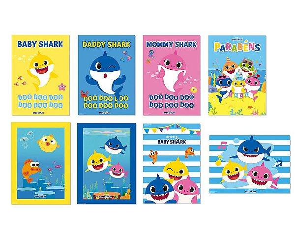 Cartaz Decorativo Sortido - Festa Baby Shark - 08 unidades - Cromus - Rizzo Festas