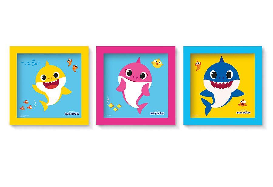 Quadro Moldura - Festa Baby Shark - 03 unidades - Cromus - Rizzo Festas