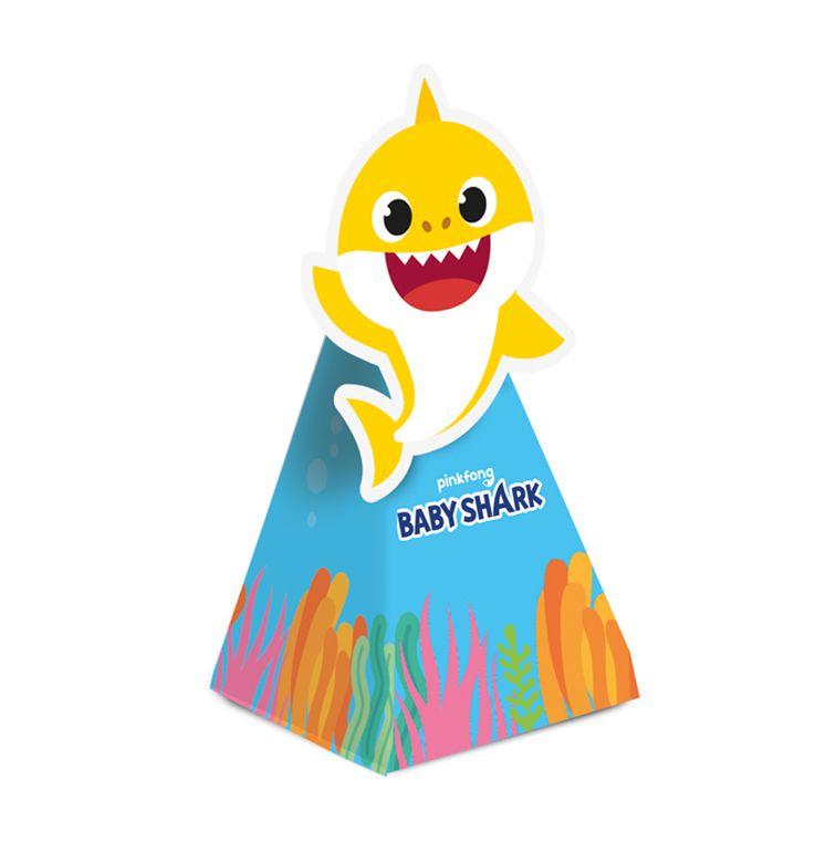 Caixa Cone com Aplique - Festa Baby Shark - 08 unidades - Cromus - Rizzo Festas