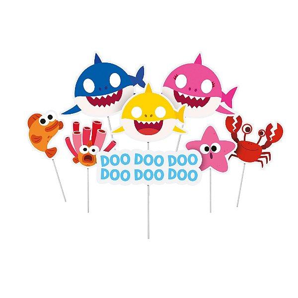 Plaquinhas Divertidas - Festa Baby Shark - 08 unidades - Cromus - Rizzo Festas