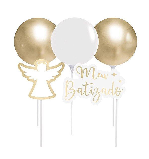 Kit Topo de Bolo com Balão - Festa Batizado 2 - 01 unidade - Cromus - Rizzo Festas