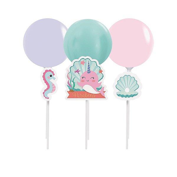 Kit Topo de Bolo com Balão - Festa Narval - 01 unidade - Cromus - Rizzo Festas