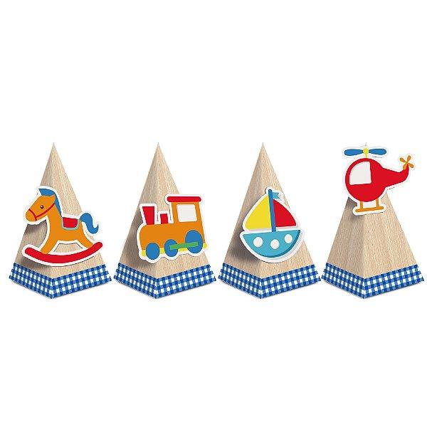 Caixa Cone com Aplique - Festa Fábrica de Brinquedos - 08 unidades - Cromus - Rizzo Festas