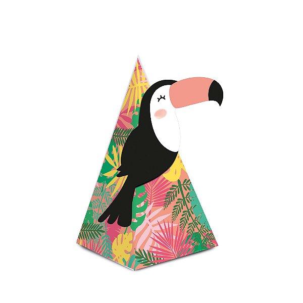 Caixa Cone com Aplique - Festa Tropical Tucano - 08 unidades - Cromus - Rizzo Festas