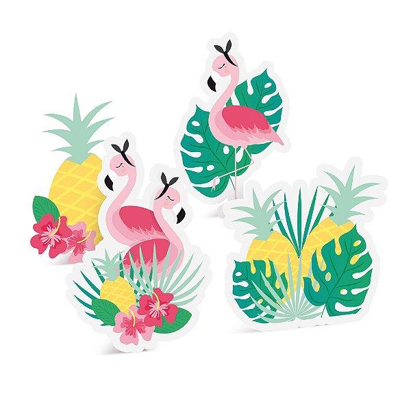 Silhueta Decorativa de Mesa - Festa Tropical Flamingo - 04 unidades - Cromus - Rizzo Festas