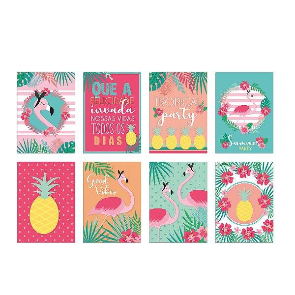 Cartaz Decorativo - Festa Tropical Flamingo - 08 unidades - Cromus - Rizzo Festas