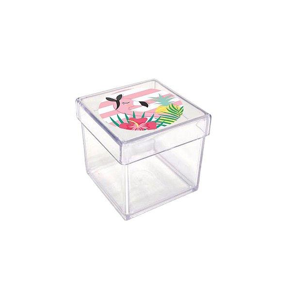 Caixinha Acrílica para Lembrancinha Festa Tropical Flamingo - 20 unidades - Rizzo Festas