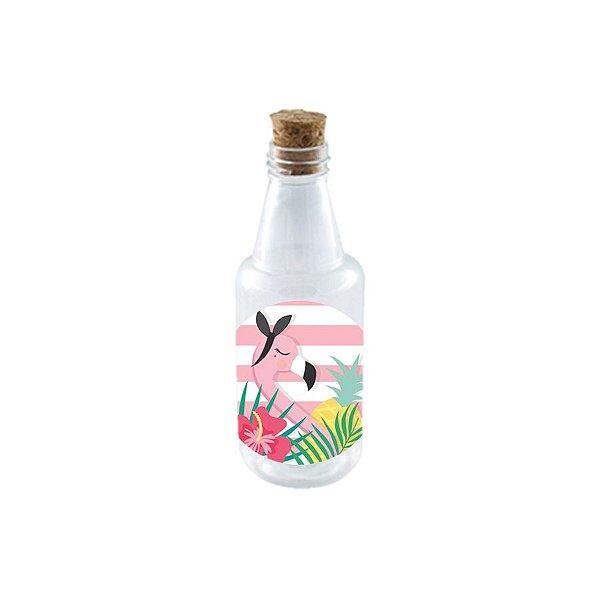 Garrafinha de Plastico 50ml com Tampa Rolha - Festa Tropical Flamingo10 Unidades - Rizzo Embalagens