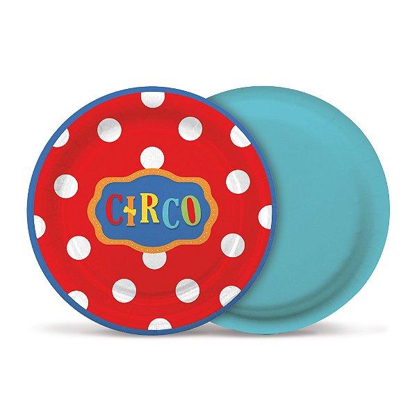 Prato de Papel 18cm - Festa Circo 2 - 08 unidades - Cromus - Rizzo Festas