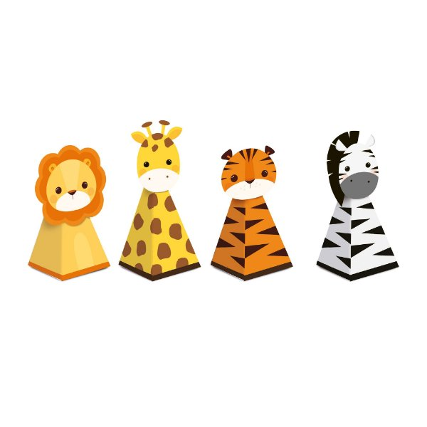 Caixa Cone com Aplique - Festa Safari 2 - 08 unidades - Cromus - Rizzo Festas