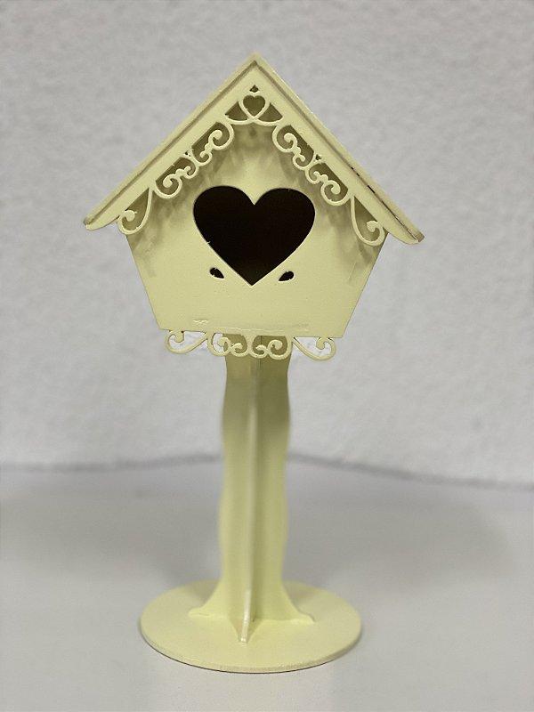 R25 - Decoração de MDF  - Casa Pássaro - Amarela - 01 Unidade - Mara Móveis - Rizzo Festas