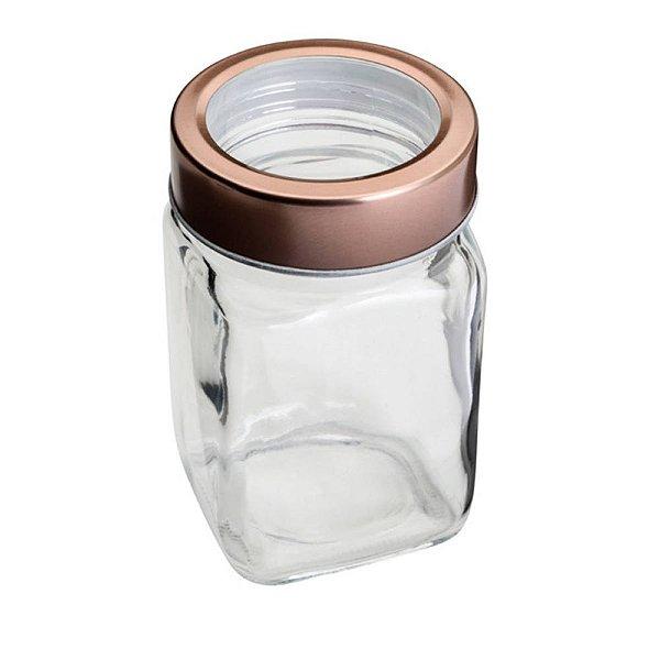 Pote de Vidro Quadrado Tampa Rosê Gold Vazada - 01 unidade - Coliseu Presentes - Rizzo Embalagens