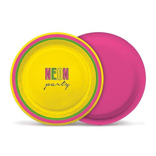Prato de Papel 18cm - Festa Neon - 08 unidades - Cromus - Rizzo Festas