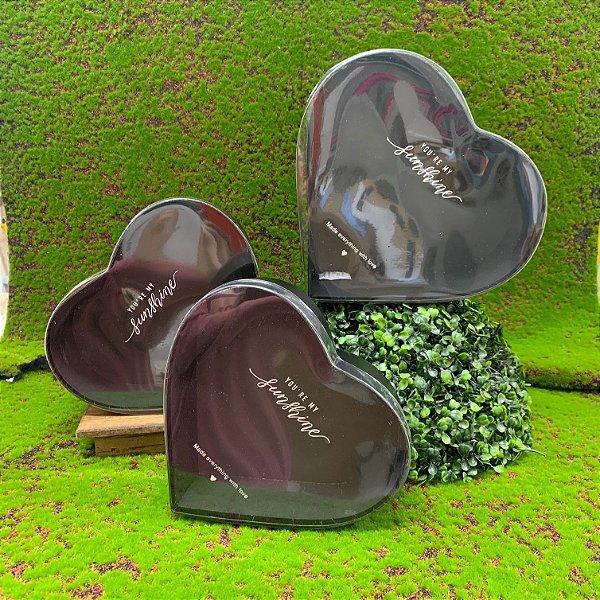 Kit Caixa Rígida Coração Preto c/ Visor - 03 ou 01 unidade - Rizzo Embalagens