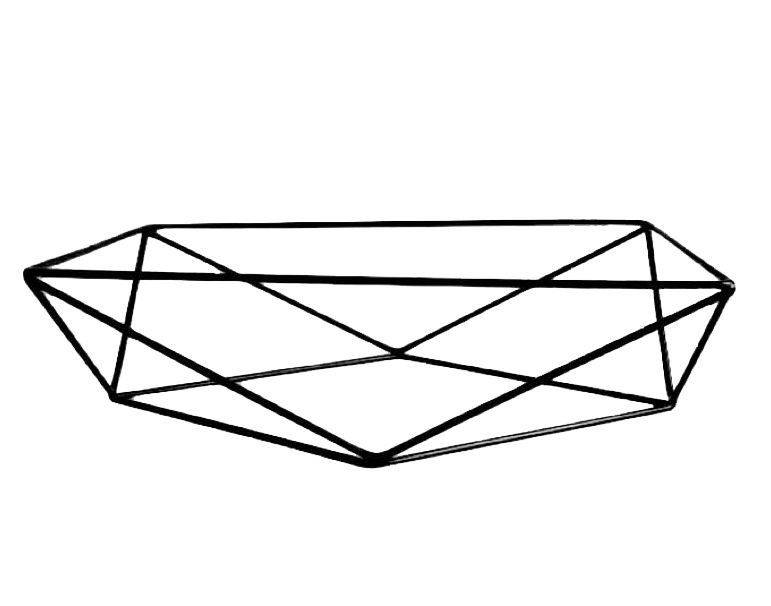 Base aramada triangular para bandeja - Preto - Rizzo Festas