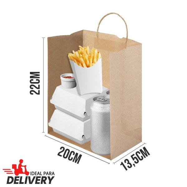 Sacola Delivery Kraft - 22x13,5x20cm - 10 unidades - Ref 5805 - WMA - Rizzo Embalagens