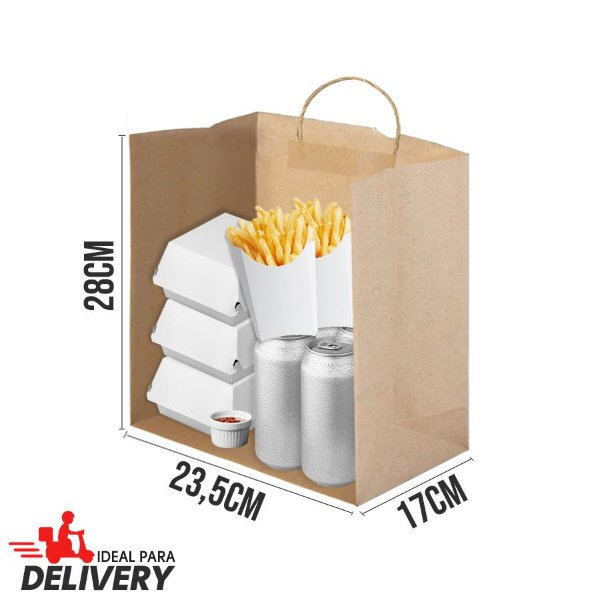 Sacola Delivery Kraft - 28x17x23,5cm - 10 unidades - Ref 5904 - WMA - Rizzo Embalagens