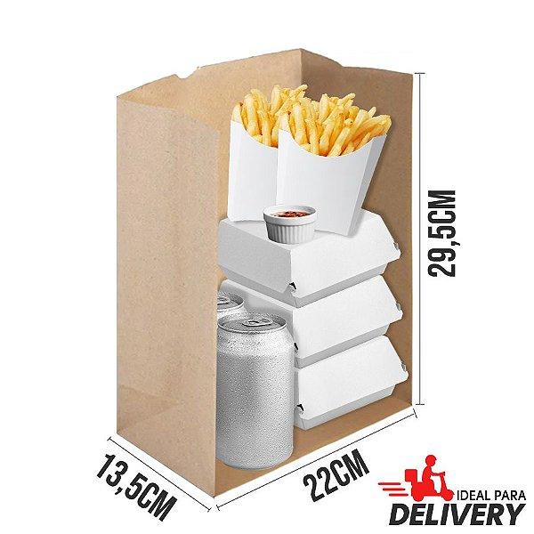 Saco Delivery Kraft - 22x13,5x29,5cm - 10 unidades - Ref 5799 - WMA - Rizzo Embalagens
