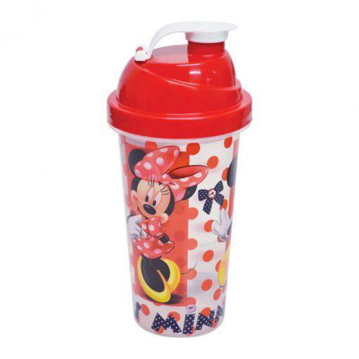 Shakeira de Plástico 580 ml com Tampa Rosca e Misturador Minnie - 01 Unidade - Plasútil -  Rizzo Festas