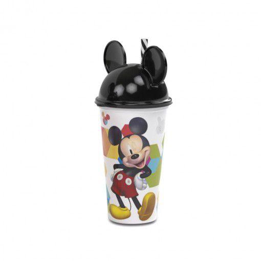 Copo de Plástico 500 ml com Tampa em Formato de Orelha e Canudo Mickey - 01 Unidade - Plasútil -  Rizzo Festas