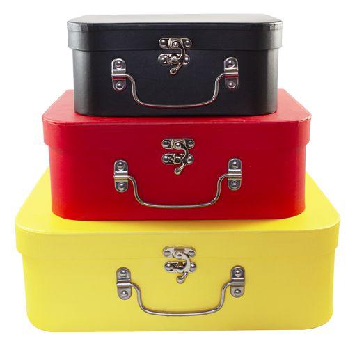 Kit 3 Maletas de Papel Mickey - 03 Unidades - Lunne Import - Rizzo Festas